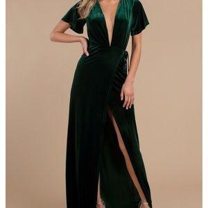Never worn green velvet wrap long dress!